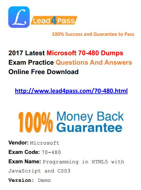2017 Latest Microsoft Questions] Microsoft 70-480 Dumps